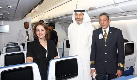 KUWAIT: Kuwait Airways Corporation Chairwoman Rasha Al Roumi inspecting the new plane. — Photos by Joseph Shagra