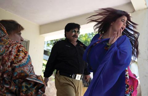 A scene during the shooting of Pashto film 'Ma Chera Gharib Sara'.