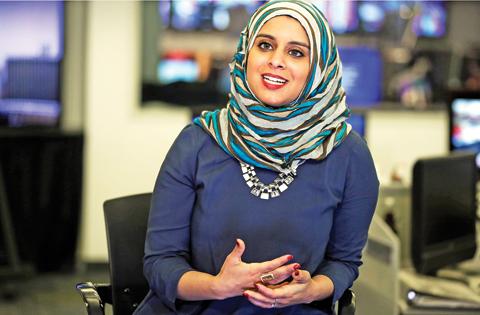 Rana Abdelhamid speaks during an interview in New York.