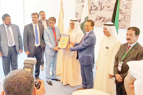 KUWAIT: Pakistani Ambassador to Kuwait Mohammad Islam Khan is seen during the inaugurating of the Pakistani commercial exhibition.— KUNA