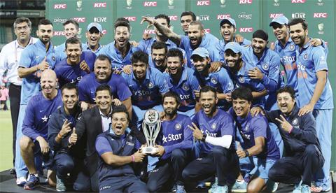 SYDNEY: India Cricket team celebrates winning the T20 International cricket series against Australia in Sydney, Australia, yesterday. — AP