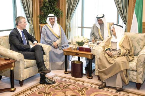 KUWAIT: (Left) HH the Amir Sheikh Sabah Al-Ahmad Al-Jaber Al-Sabah meets NATO Secretary General Jens Stoltenberg yesterday