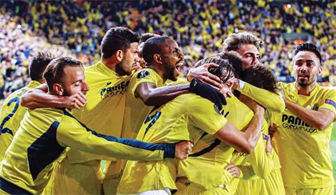 VILLARREAL: Villarreal's players celebrate a goal during the UEFA Europa League semifinal first leg football match Villarreal CF vs Liverpool FC at El Madrigal stadium on April 28, 2016. — AFP