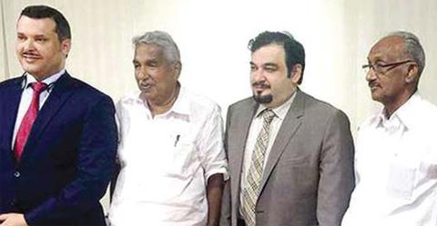 THIRUVANANTHAPURAM, India: (Left) Dr Jamal Mansour Al-Harbi, Oommen Chandy, Dr Mahmoud Al-Abdulhadi and K C Joseph during a meeting.