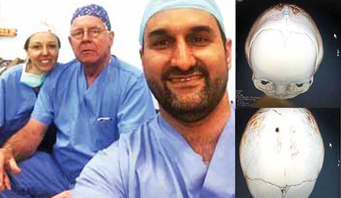 KUWAIT: Neurosurgical consultant Dr Hisham Al-Khayat (right) with his team. — KUNA