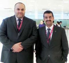 SHENZHEN: CEO of Relations and Communications in Zain Kuwait Waleed Al- Khashti with Kuwait Times Editor-in-Chief Abd Al-Rahman Al-Alyan.