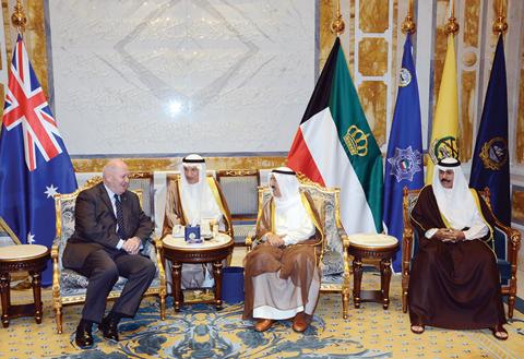 KUWAIT: His Highness the Amir Sheikh Sabah Al-Ahmad Al-Jaber Al-Sabah meets with Australia's Governor General Peter John Cosgrove, in the presence of His Highness the Crown Prince Sheikh Nawaf Al-Ahmad Al-Jaber Al-Sabah. — Amiri Diwan photos