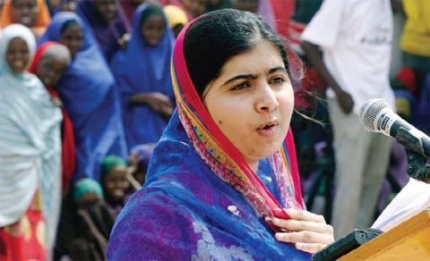 KENYA: Malala Yousafzai speaks to refugees in the Dadaab refugee camp yesterday