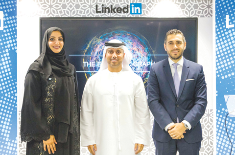 From L to R, HE Dr. Aisha Bin Bishr, HE Dr Ahmad Belhoul, and Ali Matar, Head of LinkedIn Talent Solutions