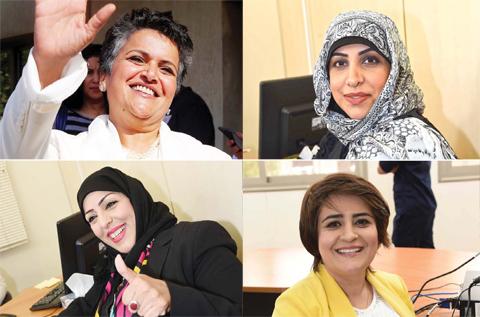 KUWAIT: (Clockwise) Kuwaiti former MP Safaa Al-Hashem, Farah Sadiq, Dr Ghadeer Aseeri and Abeer Jumaa register to run as candidates for the upcoming parliamentary election in Kuwait City yesterday. — Photos by Yasser Al-Zayyat