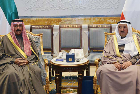 KUWAIT: His Highness the Amir Sheikh Sabah Al-Ahmad Al-Jaber Al-Sabah meets with His Highness the Crown Prince Sheikh Nawaf Al-Ahmad Al- Jaber Al-Sabah. — Amiri Diwan photos