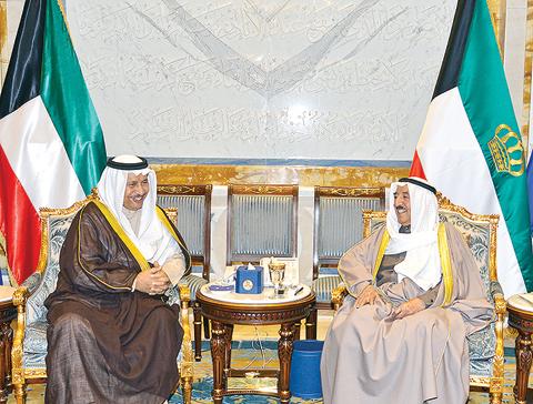 KUWAIT: HH the Amir Sheikh Sabah Al-Ahmad Al-Jaber Al-Sabah receives HH the Prime Minister Sheikh Jaber Al-Mubarak Al-Hamad Al-Sabah yesterday. —KUNA