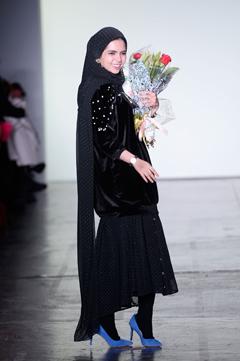 27d4defedd36 Designer Vivi Zubedi walks the runway during New York Fashion Week: The  Shows at Industria Studios in New York City.